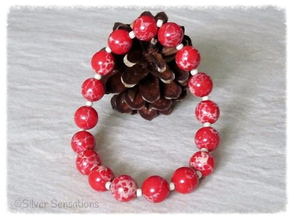 Tomato Red & Creamy Beige Sea Sediment Impression Jasper Stretch Bracelet| Silver Sensations